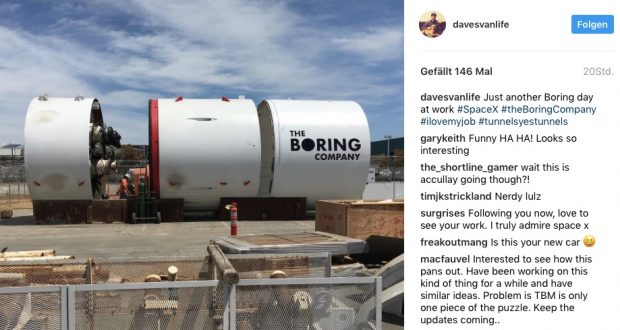 "Die Maschine von Elon Musks Tunnelbohrfirma ""The Boring Company"" (Screenshot: Instagram/@davesvanlife)"