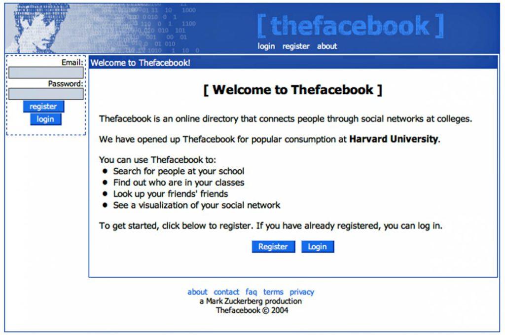"""""""The Facebook"""" im Jahr 2004 nach Veröffentlichung"""