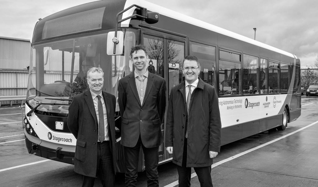 Die CEOs von Stagecoach (Martin Griffiths(, Fusion Processing (Jim Hutchinson) und Alexander Dennis (Colin Robertson)